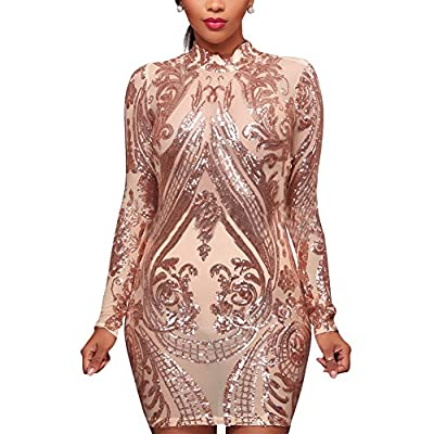 Aro Lora Women's High Neck Sequin Long Sleeve Club Bodycon Party Mini Dress