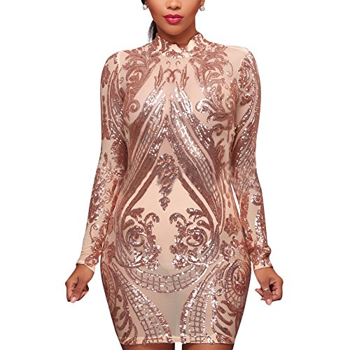 Aro Lora Women s High Neck Sequin Long Sleeve Club Bodycon Party Mini Dress 58a88c9e9