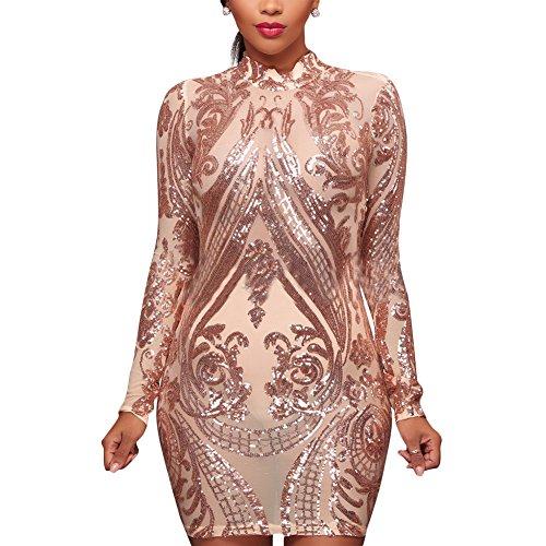 (Aro Lora Women's High Neck Sequin Long Sleeve Club Bodycon Party Mini Dress Medium Apricot)