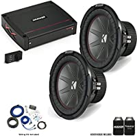 """Kicker 43CWR102 10"""" CompR Subwoofers with 44KXA8001 KX-Series Amplifier and wire kit"""