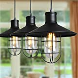 Black Industrial Loft Retro Pendant Lamps Vintage Metal Home Fixtures Sconce Shade Cage Lights Cafe,Bar,Home decor Chandelier