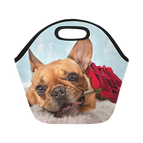InterestPrint Dog Animal Rose Love Valentine Reusable Insulated Neoprene Lunch Tote Bag Cooler 11.93