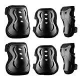 Protective Gear, OMorc Professional Outdoor Sports Knee Pads, Elbow Pads, Wrist Guards, Protective Gear Set for Skateboard, Biking, Riding, Cycling and Multi Sports, Scooter, Bicycle, Rollerblades, Set of 6pcs with Adjustable Band, Breathable Fabric For Adult (Height: 165-185cm)