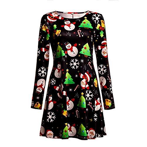 d4a39dba19f94 Christmas Women Long Sleeve Swing Dresses Ladies Santa Claus Snow ...