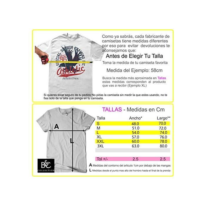 Atención: Antes De Elegir Tu Talla Comprueba Las Medidas Que Aparecen A La Izquierda Debajo Del Producto Camiseta 100% Algodón, PESO: 185 g/m2 - Impresión Digital Directa Algodón