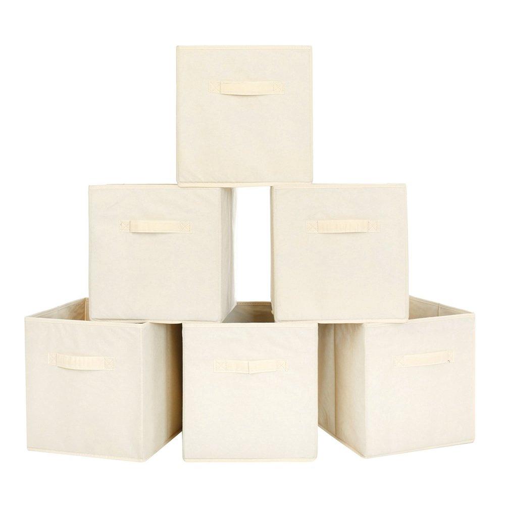Juego de 6 BASTUO Caja de Almacenamiento Plegable Cubos de Tela con 2 Asas Cesta para Juguetes Ropa Beige