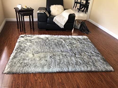 Lambzy Faux Sheepskin Classic Square Area Rug Plush Fur Premium Shag 10 x14 , White Black