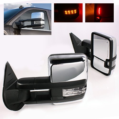 ModifyStreet Power Side Towing Mirrors with Clear Lens Turn Signal and Heated Defrost and Clearance Light for 14-17 Chevy Silverado Avalanche Tahoe Yukon/XL/Denali Suburban or GMC Sierra - Chrome by ModifyStreet