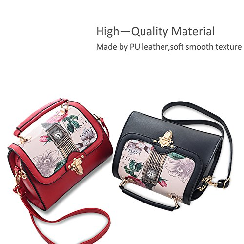 Tote PU Leather Small Fashion Bag Pink Satchel Purse Handbags Women Bag amp;Doris Red Nicole Bag Shoulder Crossbody TUqY6O
