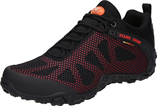 XIANG GUAN Men's Outdoor Mesh Low-Top Breathable Lightweight Trekking Hiking Shoes Black Red 10