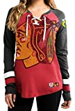 NHL Chicago Blackhawks Women's Hip Check Long Sleeve Lace-Up Tee, Small, Red/Black/White