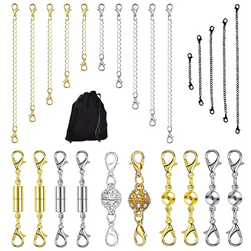 (Magnetic Clasps,26 Pcs Magnetic Jewelry Clasps for Necklaces,Gold and Sliver Color Chain Extender Converter for Jewelry Making,Perfect for DIY Bracelet Anklet Use)