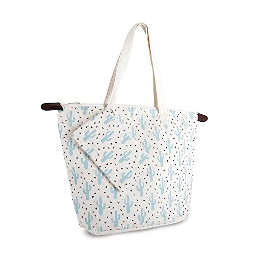 Sharp Luna Cotton Canvas Bag Printed Cove Pouch Looking Tote Ladies Cactus Green with Cactus PwUxF1P