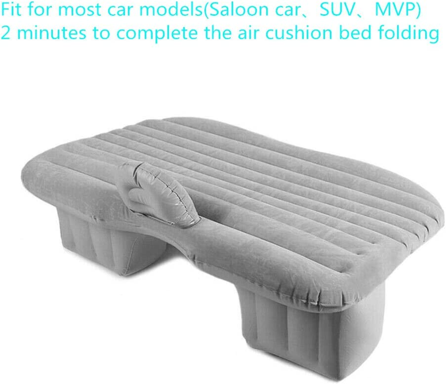 Gray Car Air Bed Portable Travel Camping Inflatable Air Mattress with Pillow Camping Travel and Car Floating Bed Fit for Most Car Models