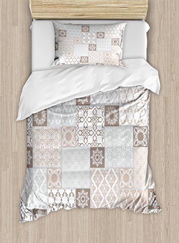 Ambesonne Arabian Duvet Cover Set Twin Size, Oriental Motif Pastel Patchwork Pattern with Filigree Ornaments Illustration, Decorative 2 Piece Bedding Set with 1 Pillow Sham, White Beige Grey by Ambesonne