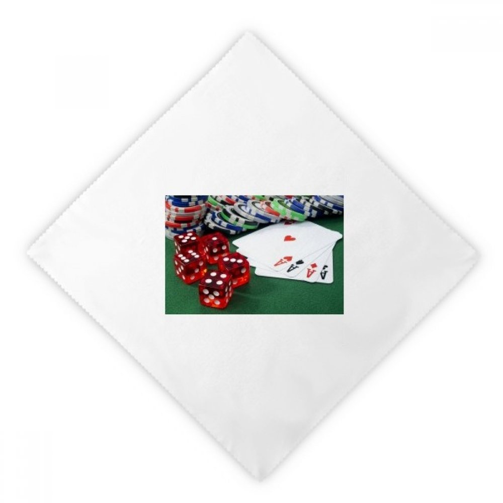 Chip Poker Dice Gambling Photo Dinner Napkins Lunch White Reusable Cloth 2pcs