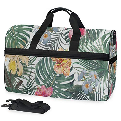 Gym Bag Tropical Palm Tree Leaves Flowers Duffle Bag Large Sport Weekender Bag for Men Women