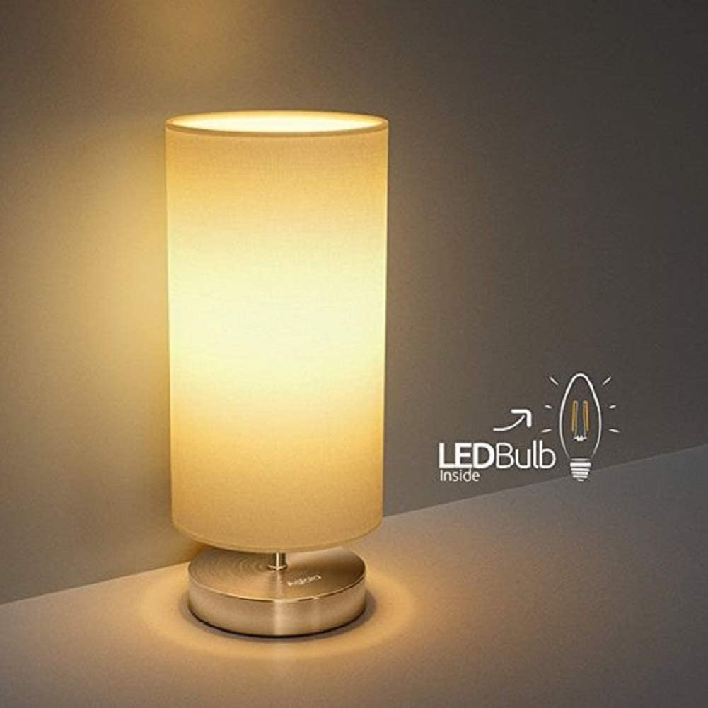 LED Bedside Table Lamp TECKIN Minimalist Fabric Desk Lamp Living Room,Coffee Table Metal Nightstand Lamp with Fabric Shade for Bedroom Night Light Office LED Bulb Included