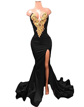 HerDress Womens 2018 Sweetheart Prom Dresses with Slit Sexy Mermaid Lace Appliques Evening Gowns