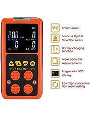 AKAKKSKY 4 en 1 Detector de Gas O2, CO, H2S, LEL Sensor Sensible Alarmas de vibración de luz de Sonido Pantalla a Color USB cargable Diseño de Tres Pruebas Medidor de Monitor