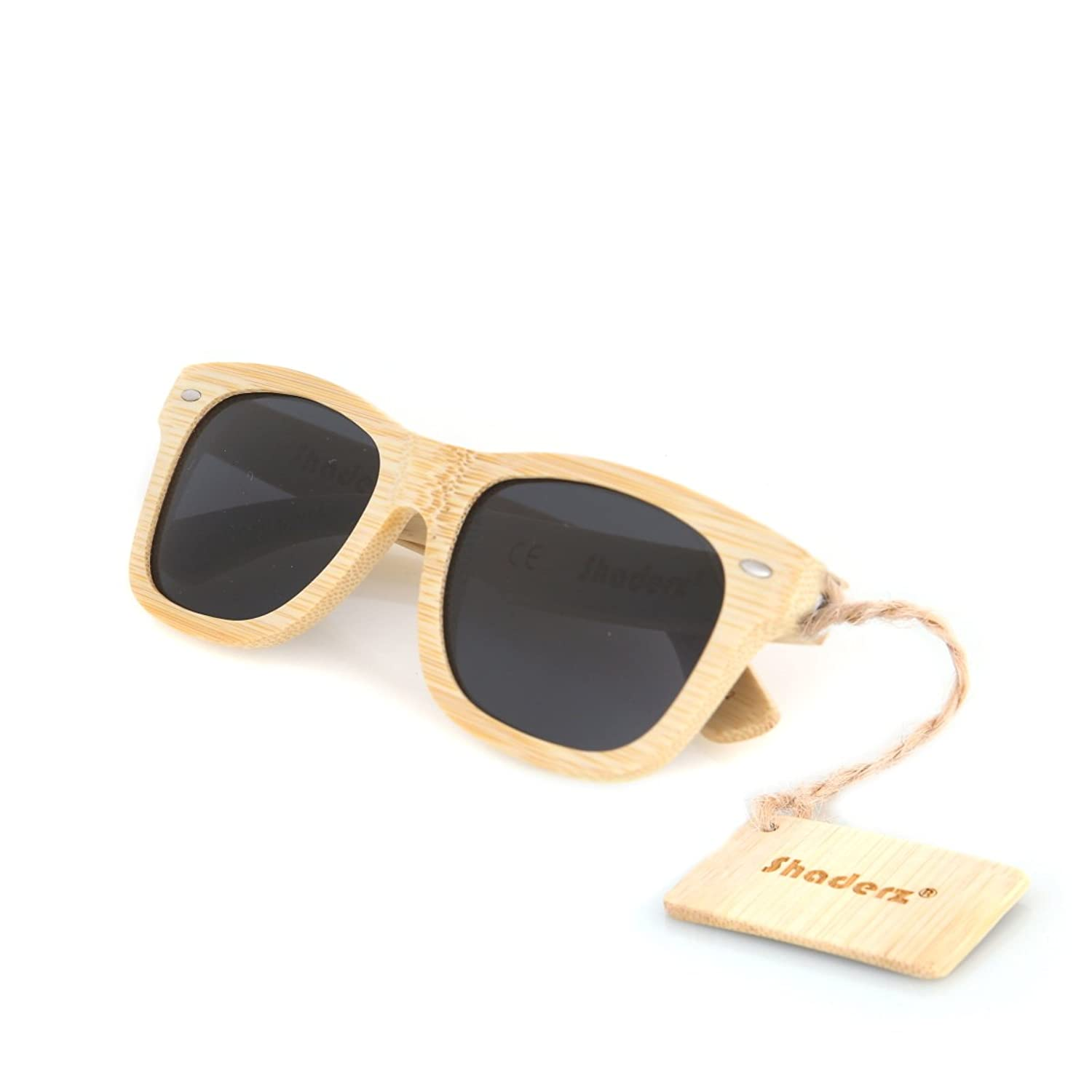 Amazon.com: Bamboo Wood Wooden Polarized Sunglasses by Shaderz ...