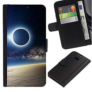 KLONGSHOP // Tirón de la caja Cartera de cuero con ranuras para tarjetas - Solar Eclipse de Luna - HTC One M8 //