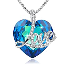 Angelady Blue Love Heart Pendant Necklace of Crystal from Swarovski, Engraved Love Girlfriend Wife Mom Birthday Gifts for Her Graduation Souvenir