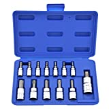 Neiko 10073A 1/4-Inch, 3/8-Inch and 1/2-Inch Drive Torx Socket Set, Tamper Proof, Security Type, 13-Piece