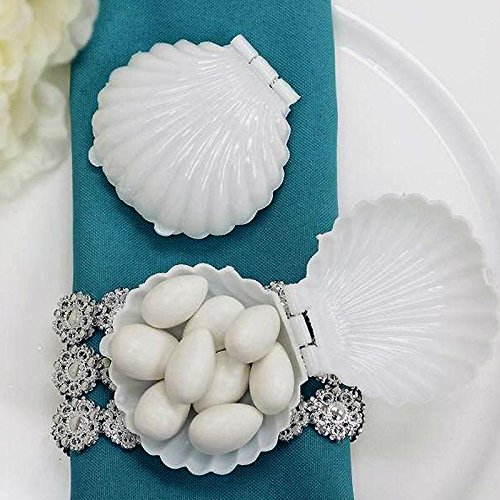 BalsaCircle 48 pcs White Plastic Mini Sea Shells Favor Holders - Wedding Party Accessories Decorations Candy Supplies Gift