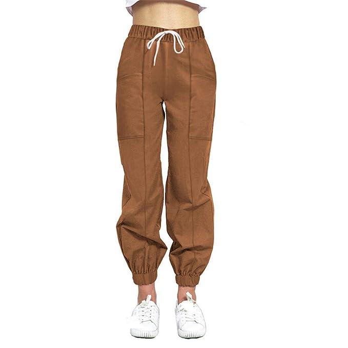 Pantalones Deportivos Para Mujer Color Solido Cintura Elastica Holgados Pantalones Haren Moda Streetwear Ocasionales Pantalone Con Bolsillo S Xl Pantalones Deportivos