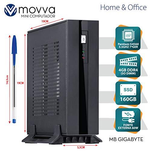 MINI COMPUTADOR LITE PENTIUM G4560 3.5GHZ 7ª GER. MEM. 4GB SSD 160GB HDMI/DISPLAYPORT FONTE 60W LINUX - MOVVA