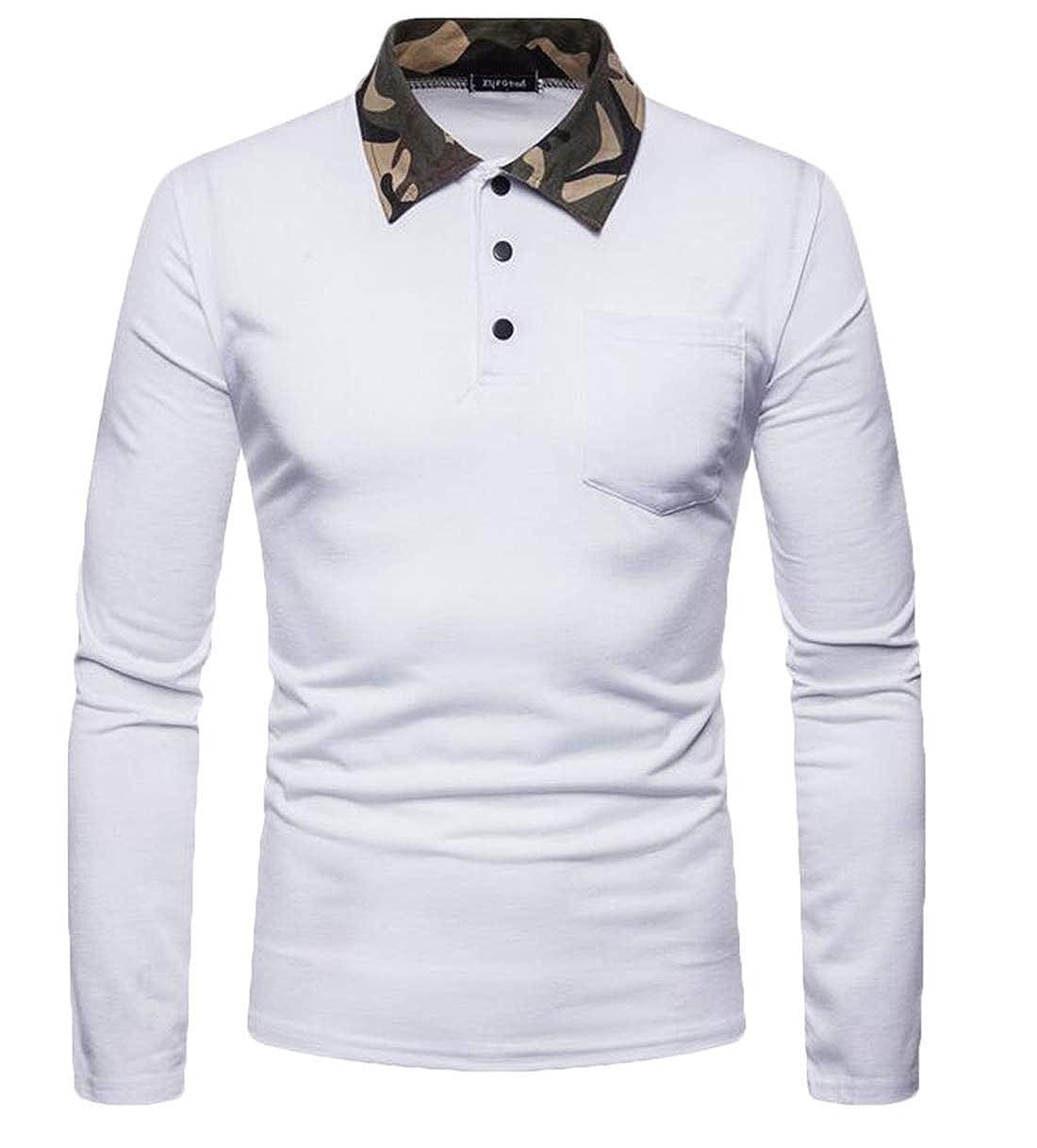 Domple Mens Long Sleeve Contrast Collar Camo Flap Pockets Casual Slim Polo Shirts