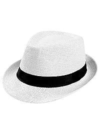 DOSOMI Women Men Casual Cowboy Fedora hat Unisex Fashion Summer Beach Sun Straw Panama Jazz Hat Gangster Cap