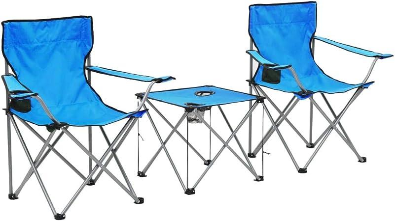 Tidyard Set di 2 Sedia Pieghevole da Campeggio con 1 Tavolo