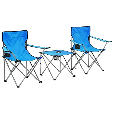 vidaXL Conjunto de Mesa y Sillas de Camping 3 Piezas Azul Accesorios Acampada