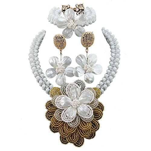 Africanbeads Crystal Handmade Flowers Nigerian Wedding African Beads Jewelry Set Women Party Necklace by Africanbeads