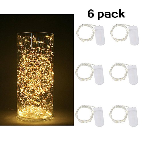 HOMELED[6-PACK] LED 7 Feet Starry String Lights,20 Micro Starry LEDs On Silvery Waterproof Wire.Works for Wedding Centerpiece,Party,Table Decorations(Cold White)