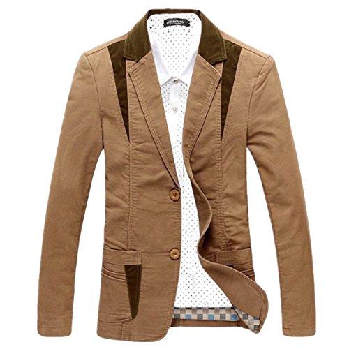 Pishon Men's Casual Blazer Cotton Lightweight Notched Lapel Two Button Blazer Jacket