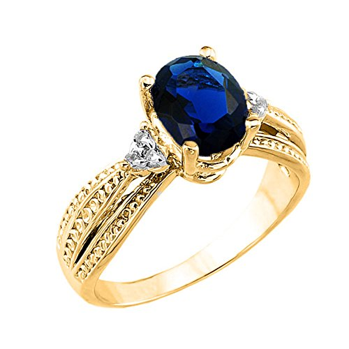 Fancy 10k Yellow Gold Diamond Band Oval Sapphire Engagement Ring (Size 10.5) (Fancy Ring Gold Yellow)