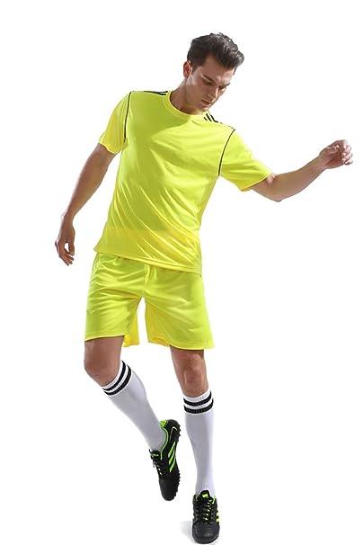 KINDOYO Hombres Ropa de Deporte Conjunto de Cuello Redondo Camiseta y Pantalones  Cortos Traje de Competencia Entrenamiento de Equipo Deportivo  Amazon.es   ... 7366a352029c3
