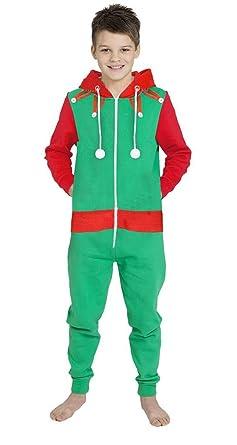 57423f7f86d Novelty Unisex Girls Boys Elf Santa All in One XMAS Christmas Onesie  Costume Jumpsuit Dress GREEN