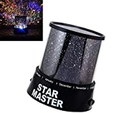 OWIKAR LED Night Light Projector Lamp, Colorful Twilight Cosmic Moon Ocean Star Romantic Sky Projector Lamp Starry Rotating Night Light Bed Light For Christmas Light (Stars)