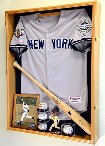 Extra Deep Jacket, Uniform, Jersey Shadow Box Display Case Cabinet w/98% UV Protection, Oak