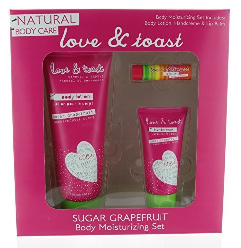 Combo Set Natural Body Moisturizing Sugar Grapefruit 8 oz, Handcream, and Lip Balm by Love & Toast