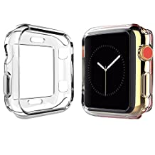 Apple Watch Case 42mm, FanTEK New Design TPU Soft iWatch Case Cover, All-around Protective Ultra-thin Apple Watch Case for Series 3 Series 2 Series 1 (Clear-42mm)