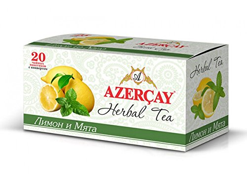 (AZERCAY Tea Mint with lemon - herbal tea - 3 Pack a 40 gr - 20 bags in single envelope 3 x 40g)