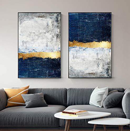 HMOTR Cuadro de Arte de Pared de Oro Moderno Cuadro de Pintura de Bloque de lamina de Oro Abstracto Impresion de Cartel Azul para Sala de Estar Decoracion Azul Marino -50x70cmx2pcs_no_Frame