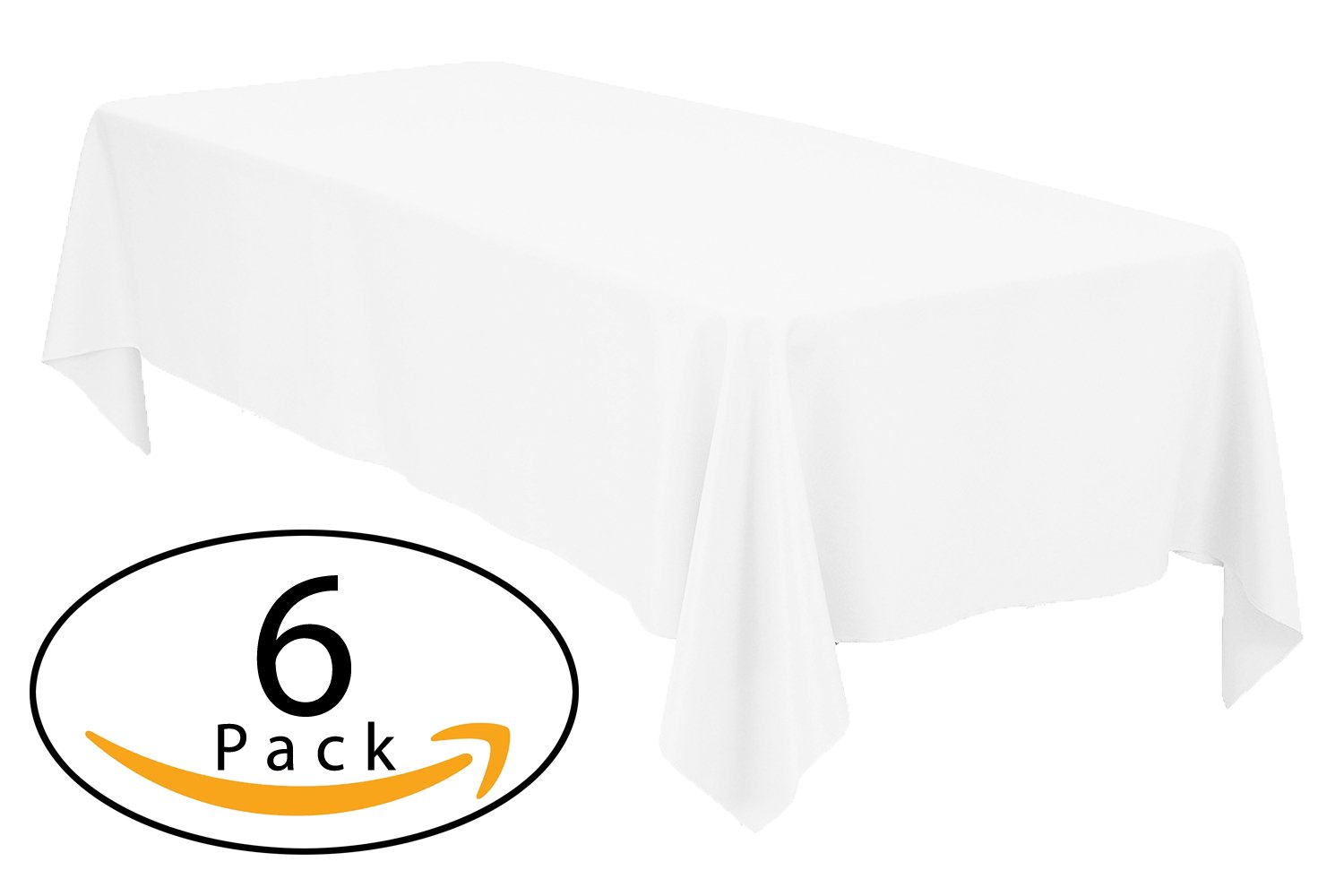Minel Disposable Party Table Cloths Rectangular 6 Pack White by Minel