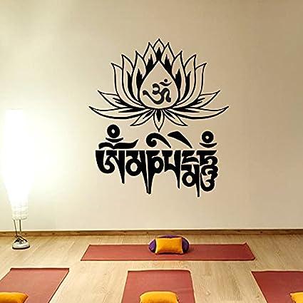 97b3145c6bbae Yoga Mantra om mani padme hum Lotus Flower Wall Decal Vinyl Sticker Wall  Decor Home Interior Design Art Mural vk77 - - Amazon.com