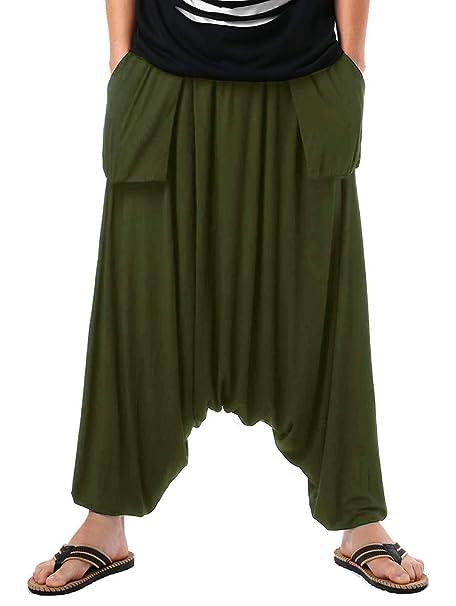 Amazon.com: Taoliyuan Mens Harem Pants Yoga Palazzo Baggy ...